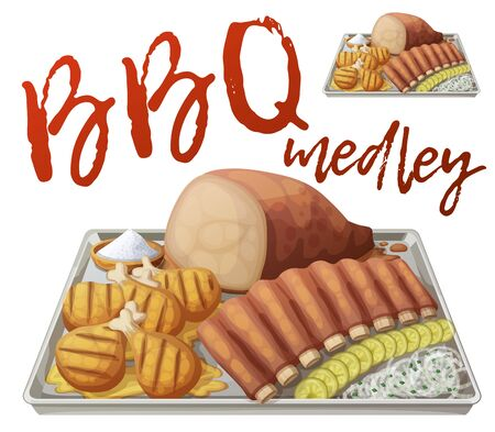 Texas BBQ medley icon. Vector illustration of barbecue meat on tin tray with white onions and gerkins isolated on white background