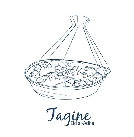 Tagine with chicken meat and vegetables icon. Cartoon vector food illustration. Hand drawn linear illustration on white background Çizim