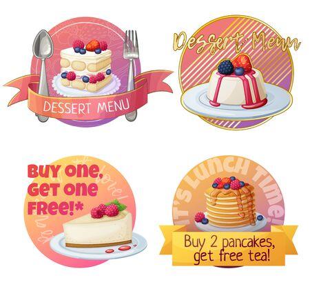 Set of berry dessert labels, cartoon vector illustration