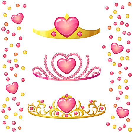 Princess crowns with heart gem isolated on white background. Golden tiaras vecotr icons collection for little girls