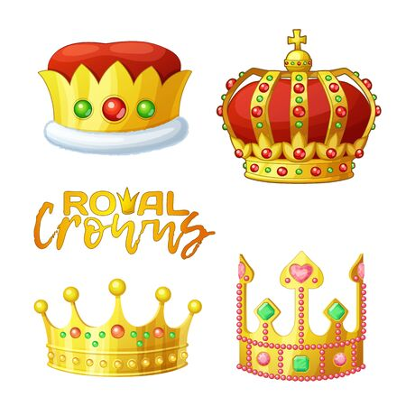 Set of golden royal crowns in cartoon style , for king and queen. Crown vector icons isolated on white background Illusztráció