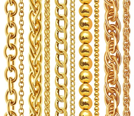 Set of realistic golden chains Stock fotó