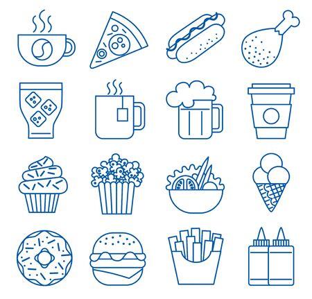 Fast food. Set of line icons Standard-Bild