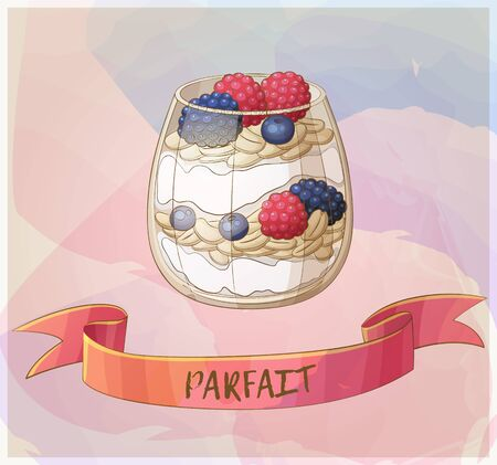 Parfait dessert with berries icon.