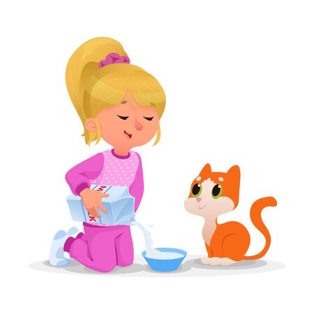 Kid feeding her pet milk isolated on white 矢量图像
