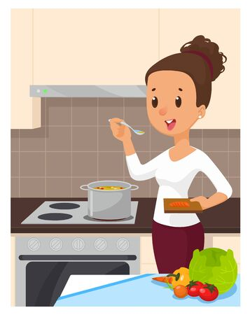 Pretty woman cooking soup at the kitchen. Cartoon vector illustration 矢量图像