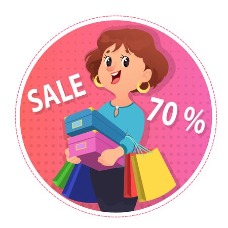 Cute girl holding pile of shoes boxes and clothes bags. Shopping woman cartoon vector illustration Illustration