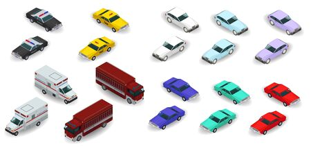 3d isometric police, taxi, ambulance, fire truck, urban car icons. Vector illustration isolated on white background 矢量图像