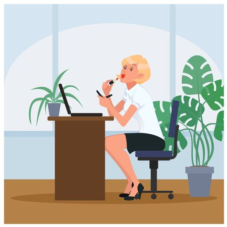 Lazy secretary doing makeup at workplace. Cartoon vector illustration Illustration
