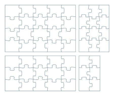 Sets of puzzle pieces vector illustration. 2 x 3, 3 x 4, 3 x 5, 4 x 5 jigsaw game outline pieces