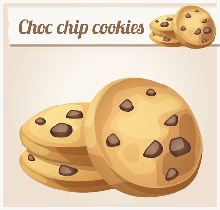 Choc chip cookie icon cartoon vector illustration
