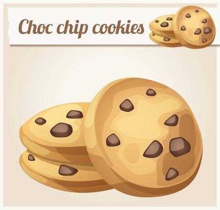 Choc chip cookie icon cartoon vector illustration