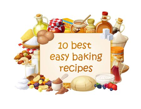 Cooking blog illustration with ingredients for baking. Cartoon vector banner template with set of food icons