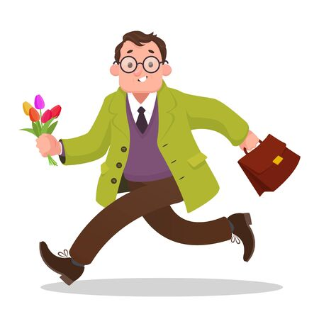 Man running with flowers to date. Cartoon vector illustration isolated on white background Illustration