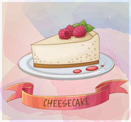 Cheesecake with raspberry icon. Cartoon vector illustration. Pastel series of berry desserts collection Illustration
