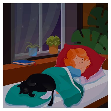 Kid girl sleeping in her bedromm wit cat at night. Cartoon vector illustration