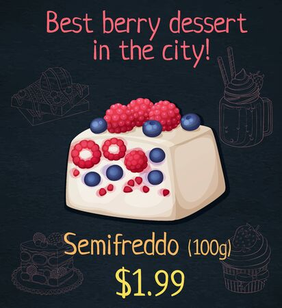 Semifreddo with berries icon. Cartoon vector illustration on black chalkboard background