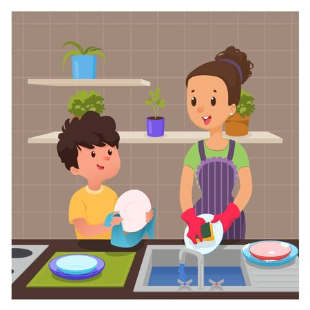 Cute boy helps mom to wash dishes, Cartoon vector illustration
