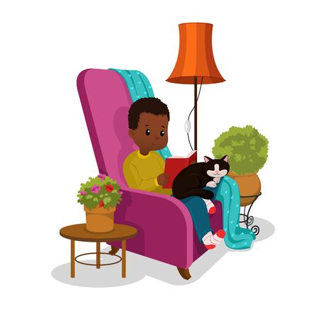 School boy reading a book in a armchair. Cartoon vector illustration isolated on white