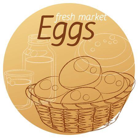 Eggs basket hand drawn linear illustration. Cartoon vector icon on beige background