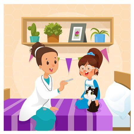Family pediatrician doctor exam girl kid at home. Cartoon vector illustration Illustration