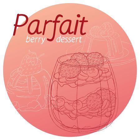 Parfait dessert with berries icon. Cartoon vector hand drawn illustration on pink background