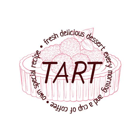 Tart dessert with berries icon. Illustration