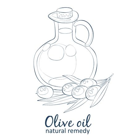 Olive oil in bottle. Cartoon vector icon isolated on white background. Cartoon vector food black and white icons. Hand drawn linear natural oil illustration Illustration