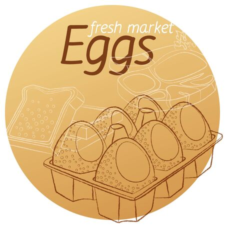 Eggs in carton hand drawn linear illustration. Cartoon vector icon on beige background