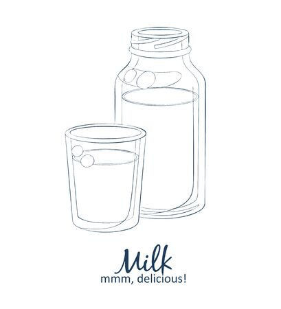 Bottle of milk and glass icon. Vector food illustration. Hand drawn linear illustration on white background Illustration