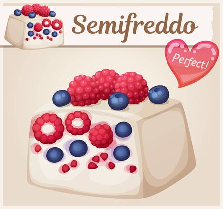Mixed berries semifreddo icon. Cartoon vector food illustration