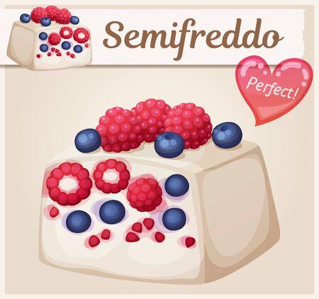 Mixed berries semifreddo icon. Cartoon vector food illustration