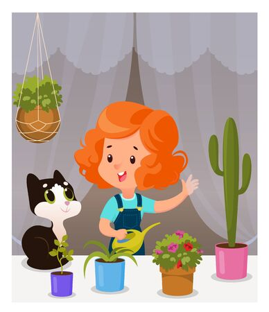 Girl kid and cat care for home plants, Cartoon vector illustration