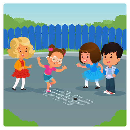Kids playing hopscotch game outdoor. Cartoon vector illustration 矢量图像