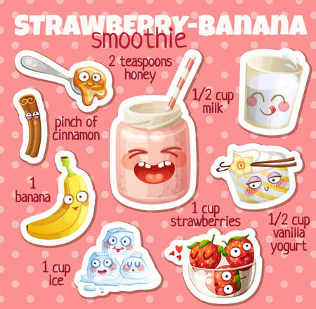 Strawberry Banana smoothie recipe illustration with funny characters. Milkshake ingredients cartoon vector icons