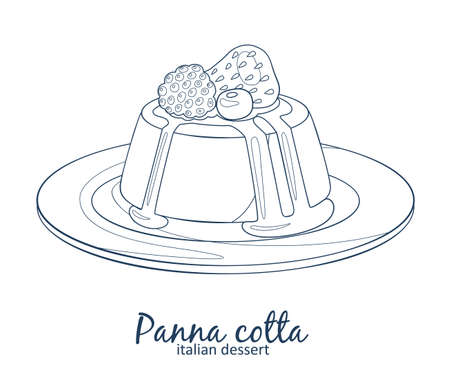 Panna cotta dessert with berries icon. Hand drawn vector illustration black and white colors 矢量图像
