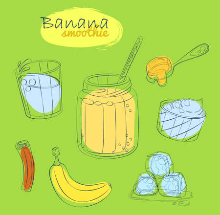 Smoothie recipe illustration with banana, milk, honey, yogurt, cinnamon. Milkshake ingredients cartoon vector icons Hand drawn linear illustration on green background