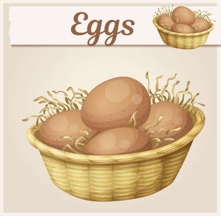 Chicken eggs in basket icon. Cartoon vector illustration