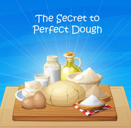 Baking illustration with set od dough ball and cooking ingredients eggs, salt, flour, milk, oil, butter, yeast Illustration