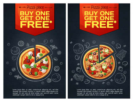 Advert fast food flyer with pizza icon on chalkboard n