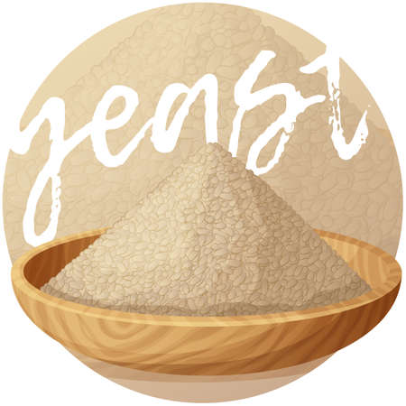 Dry yeast in wooden plate illustration. Cartoon vector icon on gradient background