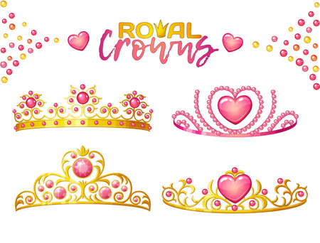 Princess crowns with heart gems isolated on white