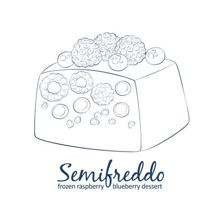 Mixed berries semifreddo icon. Cartoon vector linear hand drawn black and white illustration