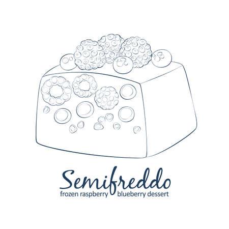 Mixed berries semifreddo icon. Cartoon vector linear hand drawn black and white illustration