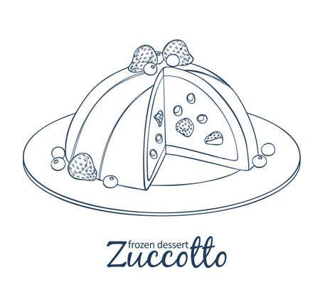 Zucotto dessert with berries icon. Cartoon vector linear black and white illustration