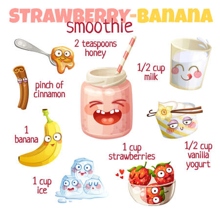 Strawberry Banana smoothie illustration with cute characters. Milkshake ingredients cartoon vector icons isolated on white background 矢量图像