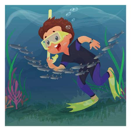 Diver boy in mask snorkeling underwater. Cartoon vector illustration