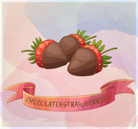 Chocolate covered strawberries icon. Cartoon vector illustration. Pastel series of berry desserts collection 矢量图像