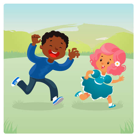 Girl and boy plaing catch up and tag game in the summer park. Cartoon vector illustration Illustration
