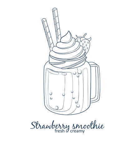 Strawberry smoothie dessert icon isolated on white background. Cartoon vector linear black and white illustration